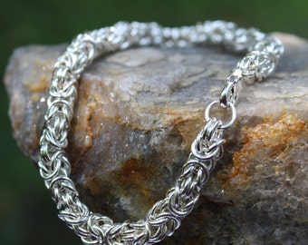 Byzantine Bracelet, Argentium Sterling Silver, Chainmaille Linked Bracelet,  Custom made