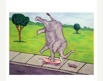 25% off Elephant and Mouse Skateboarding Art Print