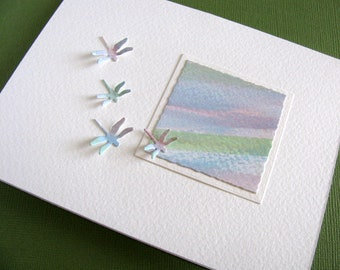 Pastel Mini Watercolour Painting with 3D Dragonflies on Creamy Ivory Card / Can be Horizontal or Vertical / A2 Size / Ready to Ship