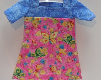 """Butterflies Dragonflies Flowers Square neck & three quarter Sleeve Knee Length Dress 18"""" Doll Clothes"""