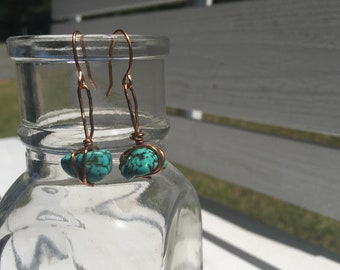 Copper and turquoise wire earrings