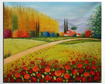 Flower Field Oil Painting, Original Painting, Canvas Art, Abstract Painting, Wall Art, Large Art, Canvas Painting, Large Painting