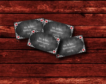 Red Chalkboard Wedding Escort Card Template, Printable Place Card Template, Food Label, Printable Gift Tag, Wedding Favor Tag, Baby Shower