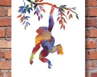 Chimp - Art Print - Chimpanzee - Abstract Watercolor Painting - Wall Decor