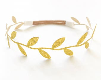 Delicate Gold leaf halo wraparound headband newborn prop