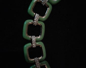 Vintage Bracelet - Green with Gold and Rhinestones