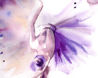 Ballerina Art Print, Ballerina Watercolor painting print, purple ballerina print, modern ballet dance wall art print
