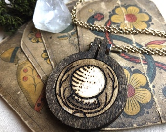 Witch's Fortune Necklace / Crystal Ball / Wood Burned Pendant