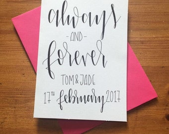 Personalised hand lettered - always and forever - wedding card