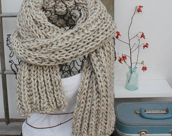 Extra Large Knit Scarf Large Chunky Knit Scarf The Ursus Birch Off-White Scarf Huge 9 Feet Long Scarf Winter Fashion Scarf Ready to Ship