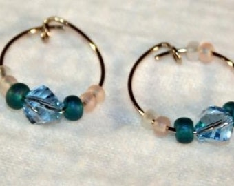 Light Blue Helix Crystal Hooped Earrings