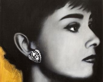 AUDREY Hepburn, actress, vintage, original painting