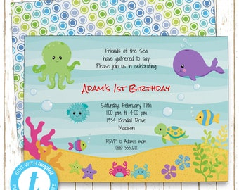 Under the Sea Invitation | Kids Birthday | Printable Editable Digital PDF File | Instant Download | Templet | KBI204DIY