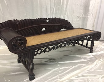 Vintage Chinese Lounge Chaise with Carving Detail in Rosewood