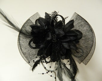 Vintage inspired black tulle bow fascinator flower feather hair clip