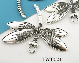 Large 60mm Dragonfly Charm Pewter. Pewter Pendant,  Antiqued Silver (PWT 523) 1 pc BlueEchoBeads