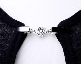 Clips pour pull - cercle celtique argent chaîne cardigan clip | Châle chaîne | Pashmina pin | Fixation de chandail | Envelopper le titulaire | Garde de Cardigan