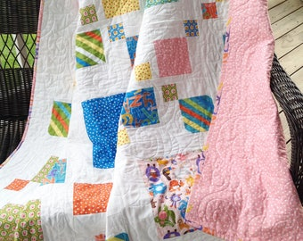 "Large baby/toddler quilt, silly squares, pink, blue, yellow, green, orange 61"" x 64"""