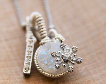 Snowflake Druzy Charm Necklace/ Winter Bride Bridal Jewelry/ White Druzy Winter Charm Necklace Handcrafted by Bare and Me/ Winter Snowflake