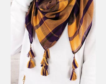 Clearance item!! Yellow and purple gameday scarf