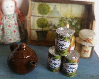 Tin of coffee or tea in miniature