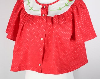 Red Polka-dot Rose Embroidered Swing Top