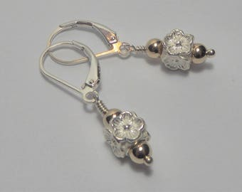 14K Gold and Sterling Silver Floral Earrings