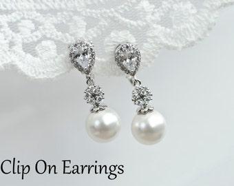 Clip On Earrings, Bridal Pearl Earrings, Clip On Bridal Pearl Earrings, Bridesmaids Earrings, Cubic Zirconia and Swarovski Pearl Earrings