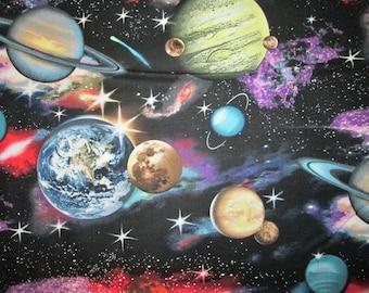 Planets Moon Ringed Saturn Stars on Black Cotton Fabric Fat Quarter or Custom