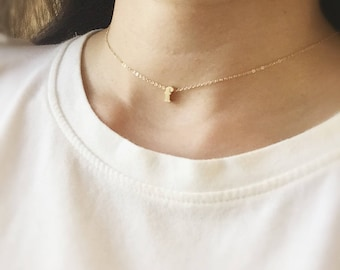 Dainty Choker Necklace - Tiny Alphabet Necklace/ Gold Initial Necklace/ Personalized Choker/ Gold Choker/ Initial Choker/ Layering Necklace