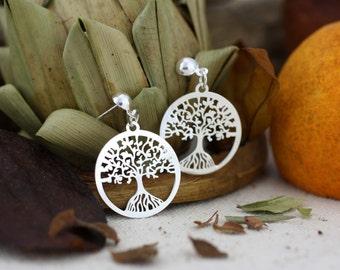 Tree-of-Life Earrings, Sterling Silver Tree of Life Dangle Earrings, Tree of Life Dangle, Tree of Life, Sacred Tree, Tree of Life Earrings