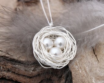 Bird's nest necklace with three Swarovski pearl eggs- silver plated woven wire birds nest- Great wedding jewelry available to personalize