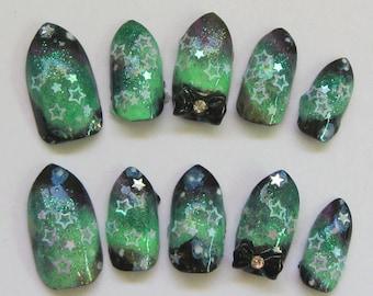 "3D deco nails- ""Aurora"" - Northern Lights Aurora Borealis themed nails"