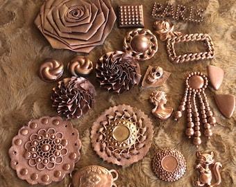 set of 20 copper streampunk items