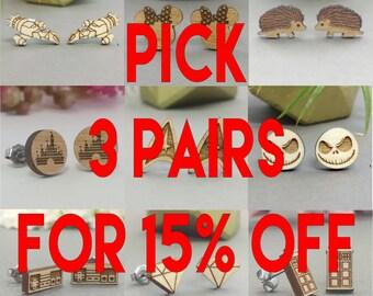 Pick Any 3 Earrings In Stock for 15% Off - Star Wars - TARDIS - Anchor - Star Trek - Bicycle - Frozen - Disney - Harry Potter
