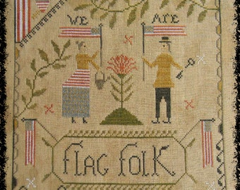 Flag Folk - PAPER cross stitch pattern from Notforgotten Farm™