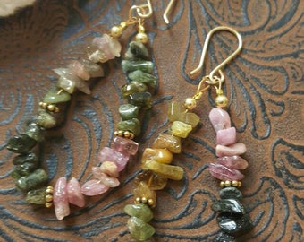 Tourmaline Earrings, Gemstone nuggets, pinks & greens, long hoop earrings, wirewrapped handmade jewelry, one of a kind