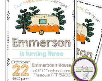 Our Happy Little Camper Birthday Party Invitation Trailer Personalized Invite Little Boy 5x7 Digital