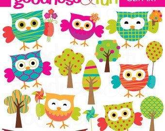 Buy 2, Get 1 FREE - Bright Summer Owls Clipart - Digital Owl Clipart - Instant Download