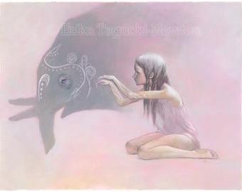 "Elephant Art, Shadow Puppet Painting, Elephant Art Print - ""Shadowplay"""