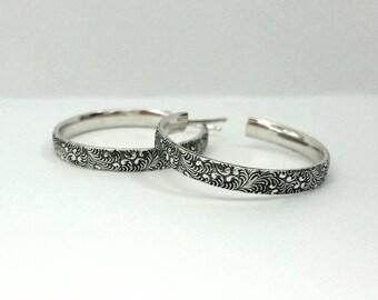 """1"""" Medium Hoop Earrings - Silver Flourish Pattern Hoops - Wide Hoop Earrings - Swirl Pattern - Baroque Post Hoops"""