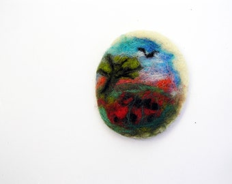 Poppy field felted brooch- nature inspired-miniature wool painting brooch- organic- eco friendly- boho- felted landscape brooch- woodland