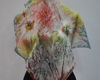 Vintage HANDMADE silk scarf , hand dyed scarf , hand rolled ....(742)