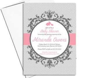 Unique baby shower invitation girls pink and gray | printable baby shower invites | girls shower invitations | DIY or printed - WLP00790