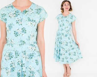 50s Floral Day Dress |  Blue Floral Print Cotton Dress | Top Mode | Medium