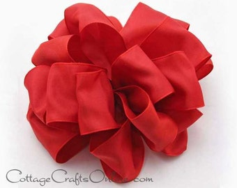"Wired Ribbon, 1 1/2"" Red - TWENTY FIVE YARD Roll - Offray ""Gelato Freedom Red""  Craft, Wedding, Bridal, Wire Edged Ribbon"