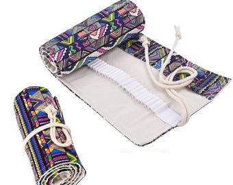 36/48/72 Holes Canvas Pencil Wrap Roll Up Pencil Case Pen Holder Bag Storage Pouch(CTJZ21PRC)
