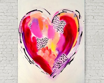 Abstract Heart Painting 11x15.5 - Valentine's Day Gift - Valentines Day Decor - Love Gift, Wall Art, Home Decor, Spring Decor, Original Art
