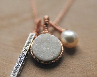 Rose Gold White Druzy Charm Necklaces/ Wedding Party Gift Ideas/White Wedding Ideas/ Personalized Druzy Necklaces/ Lavendar Druzy
