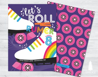 roller skating invitation, skate party invites, roller skating birthday invitation, roller skating birthday party, skating party invitations